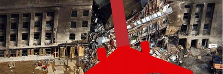9/11 Pentagon: Das Loch und eine eingefügte Abbildung der Größe einer Boeing 757