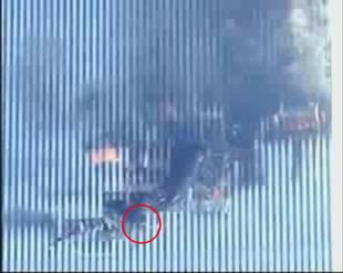 Frau im brennenden Twin Tower des World Trade Center
