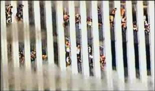 Menschen im brennenden Twin Tower des World Trade Center