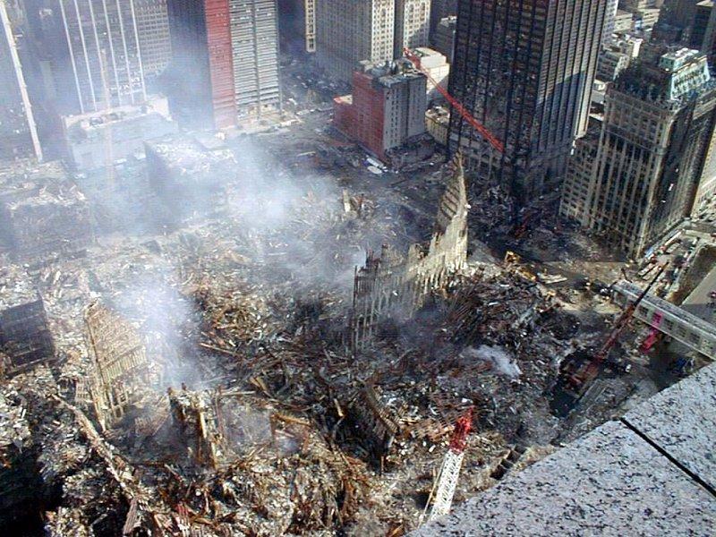 Schutt und Asche der Twin Tower des World Trade Center