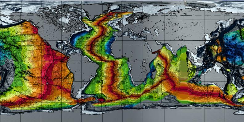 Weltkarte: Alter des Meeresgrunds