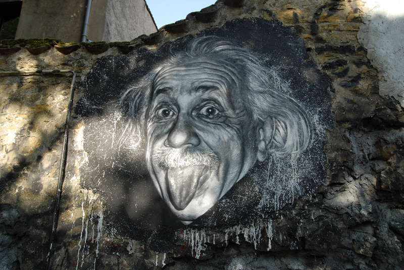 Albert Einstein painted portrait