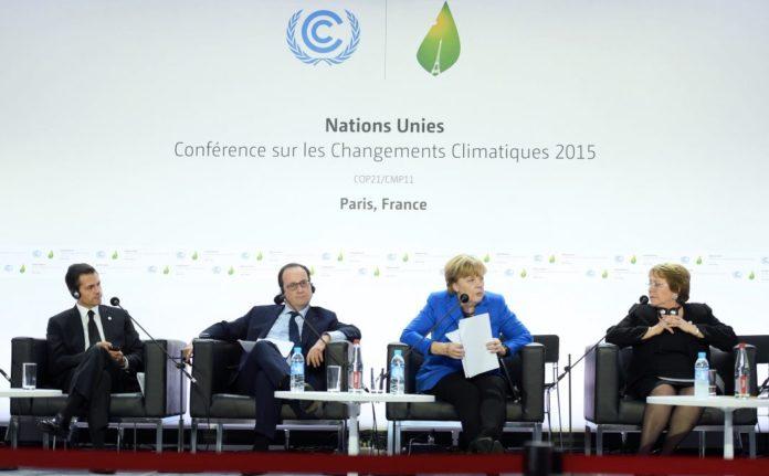 Klimagipfel in Paris: Enrique Peña Nieto, François Hollande, Angela Merkel, Michelle Bachelet