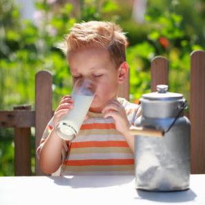 kleiner Junge trinkt frische Rohmilch
