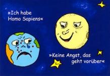 Cartoon Homo Sapiens Syndrom zum Thema Geisteskrankheit Globalisierung