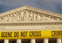 """Crime Scene, Do Not Cross"""" Tape At The United States Supreme Court During The January 27, 2007 March On Washington (Washington, DC)"""