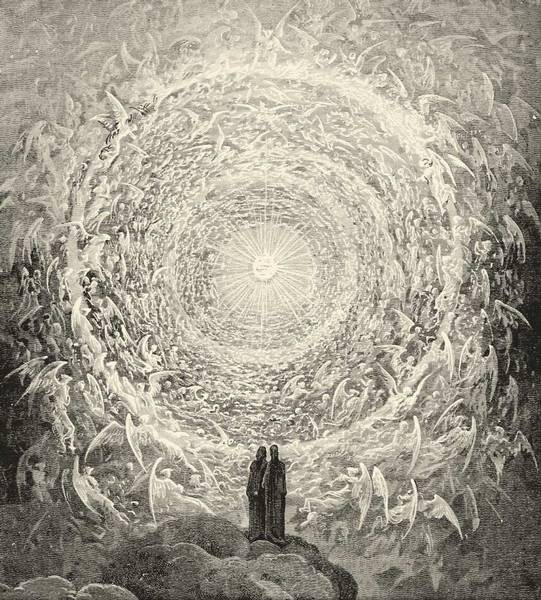 Dante and Beatrice gaze upon the highest Heaven, The Empyrean.