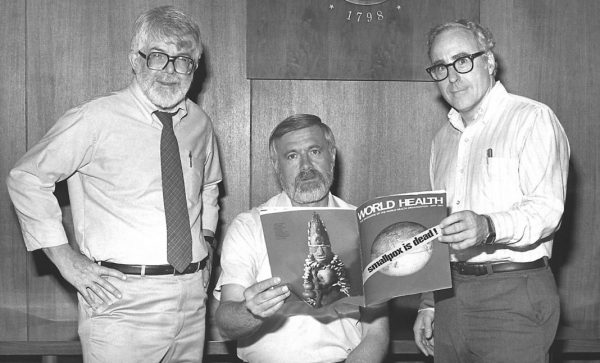 Three former directors of the Global Smallpox Eradication Programme read the news that smallpox had been globally eradicated, 1980
