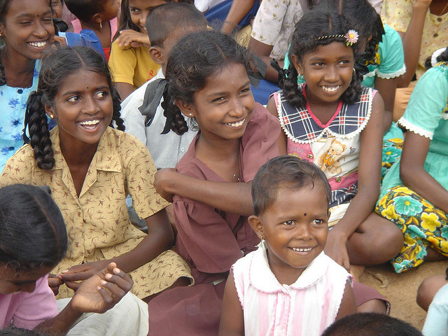 Kids at Sarvodaya Camp in Kalmunai, Sri Lanka