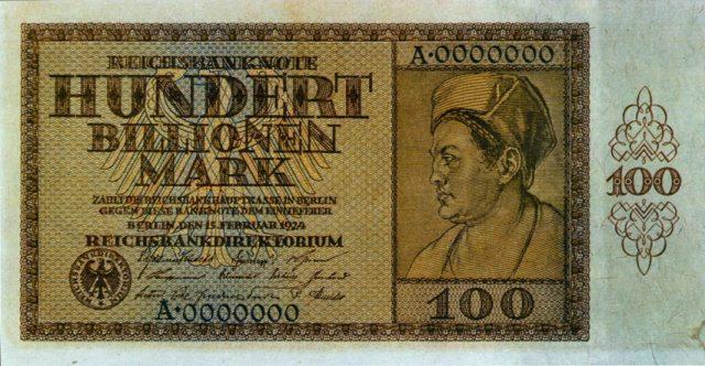 Am Ende der Hyperinflation 1923 gab es einen 100 Billionen Mark Geldschein.