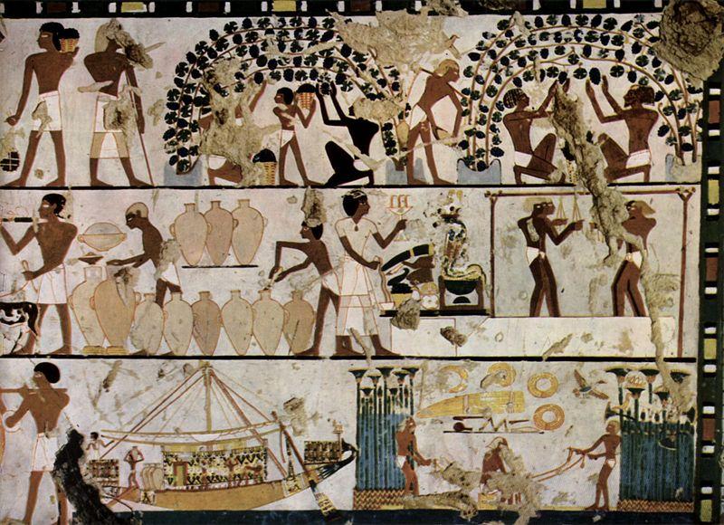 Ägyptischer Maler um 1500 v. Chr.: Grabkammer: Wandgestaltung