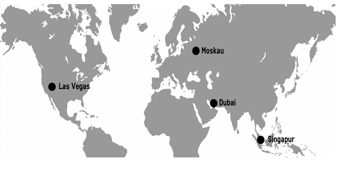 Grafik: Weltkarte mit Las Vegas, Dubai, Singapur und Moskau