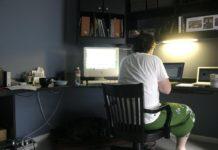 Bildschirmarbeit - Shane Adams arbeitet von zu Hause aus