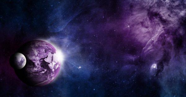 Universum mit Erde und Mond