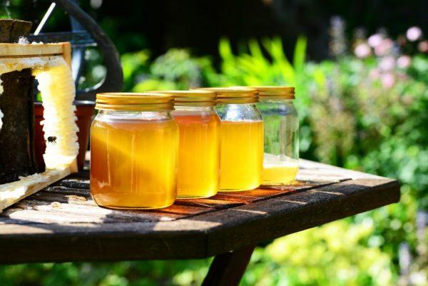 Honig in Gläsern mit Bienenwabe