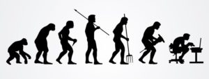 Human work evolution silhouettes