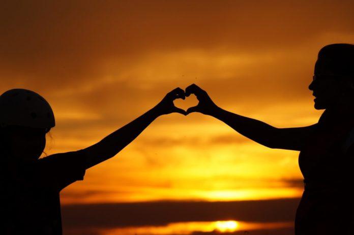 Liebe, Familie, Herz, Sonnenuntergang