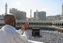 Supplicating Islam Pilgrim at Masjid Al Haram. Mecca, Saudi Arabia