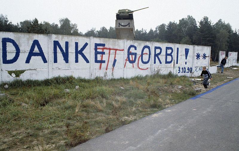 """Die Nachricht auf der Mauer: """"Danke, Gorbi."""""""