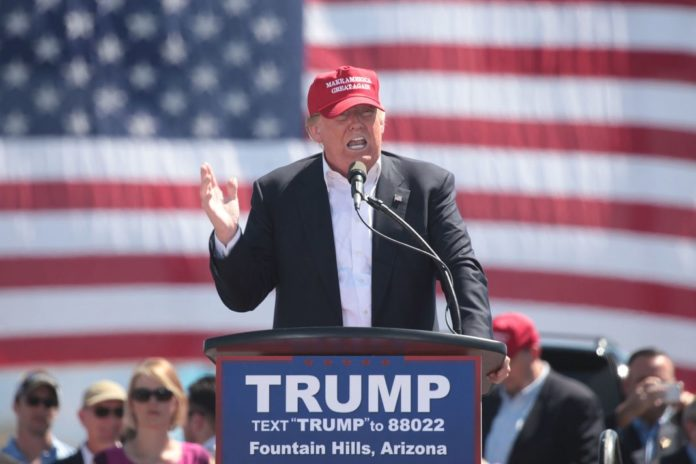 Donald Trump speaking at a rally in Fountain Hills, Arizona.
