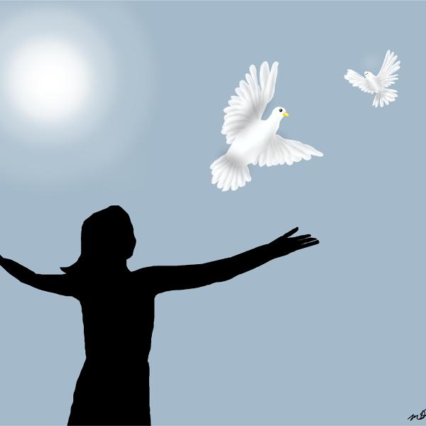 Silhouette einer Frau mit Friedenstauben