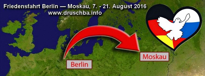 Karte der Friedensfahrt Berlin-Moskau 2016