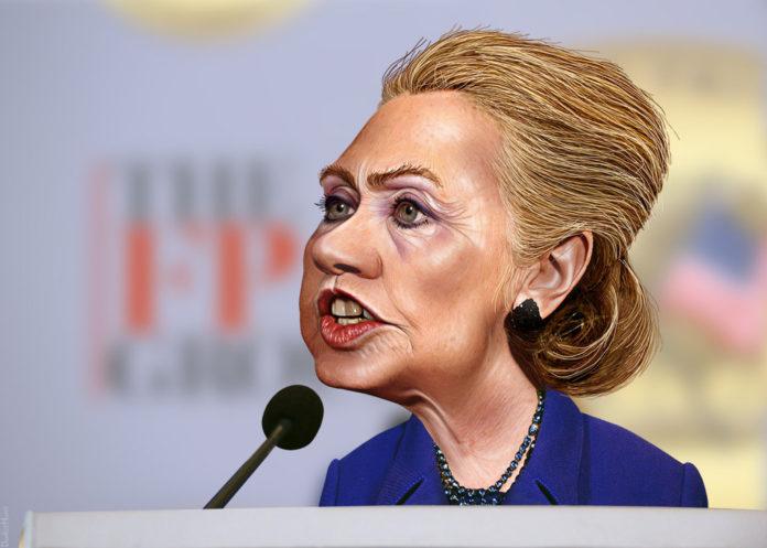 Präsidentschaftskandidatin Hillary Clinton Karikatur