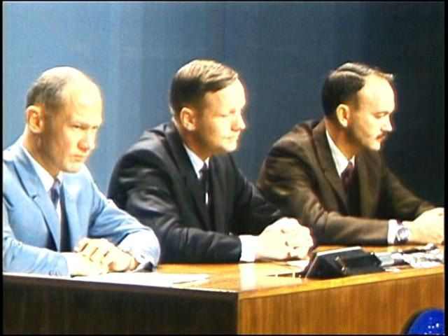 Neil Armstsrong, Buzz Aldrin and Michael Collins at Press conference 1969