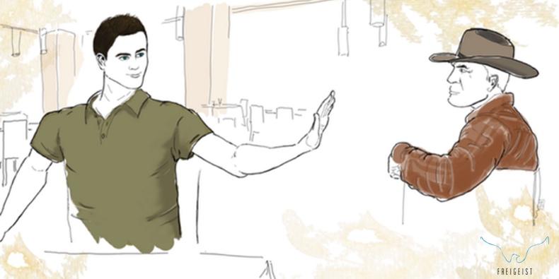 Illustration: Lebensrestaurant - Nein zum Cowboy
