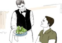 Illustration: Lebensrestaurant - Der Kellner bringt den Salat