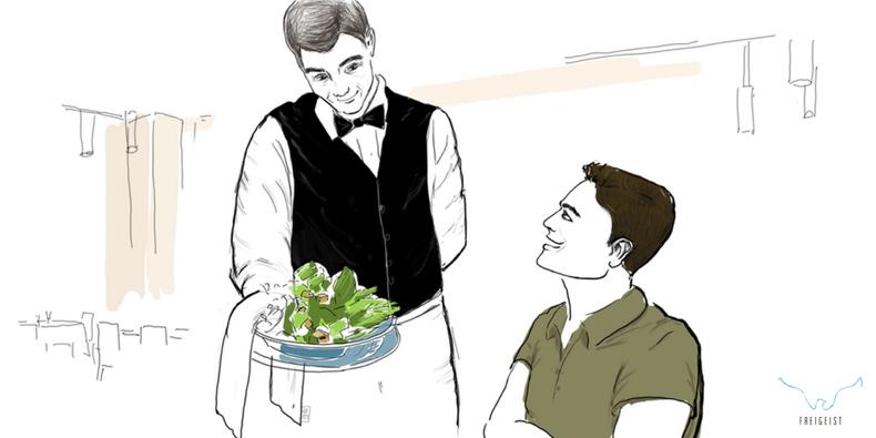 Illustration: Lebensrestaurant - Der Kellner bringt den Salat