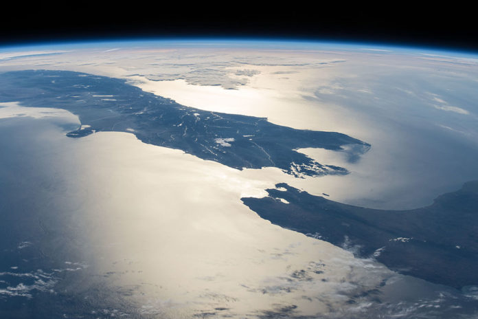 New Zealand in Sunglint