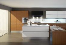 Moderne Küche, mit einem Holz-Finish