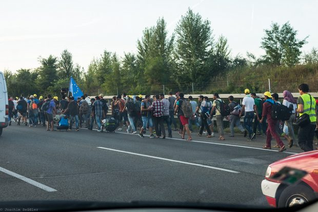 Refugees on the Hungarian M1 highway on their march towards the Austrian border