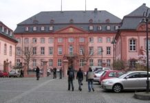 The front entrance of the Landtag in Mainz, Germany
