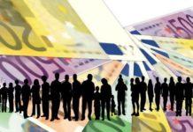 Menschen bzw. Silhouetten mit Euroscheinen bildlich für das bedingungslose Grundeinkommen