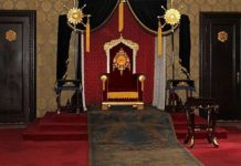 Throne room in the Museum of the Imperial Palace of the Manchu State, Changchun, Jilin province, northeast China.