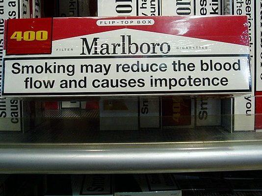Marlboro Warnung über Impotenz