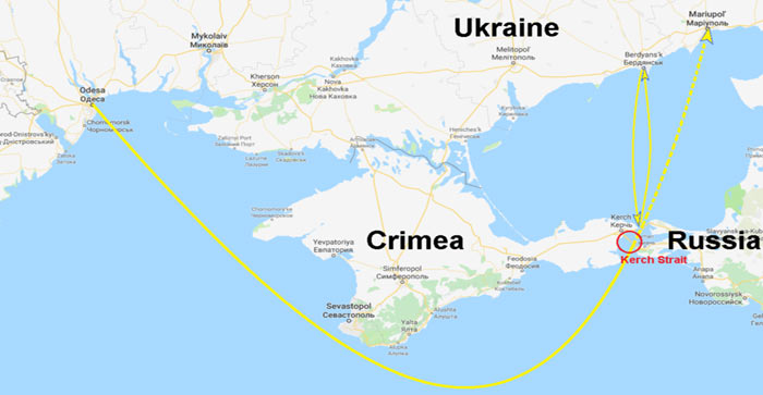 Schematic movements of Ukrainian vessels (yellow) near Kerch Strait