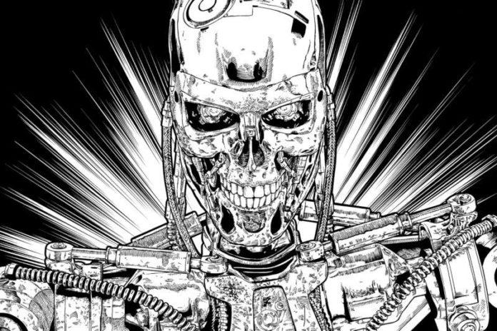 Künstliche Intelligenz: hier Zeichnung eines Terminators