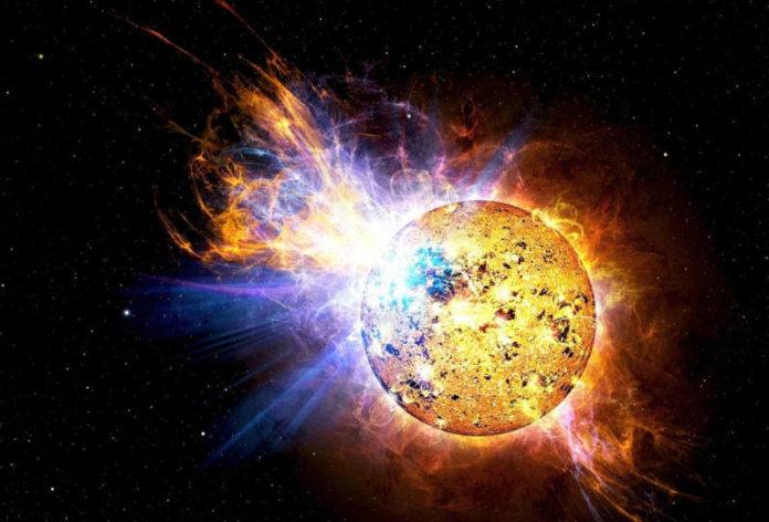 Sonneneruption als Beispiel für die Energiegewinnung mittels Neutrinovoltaik